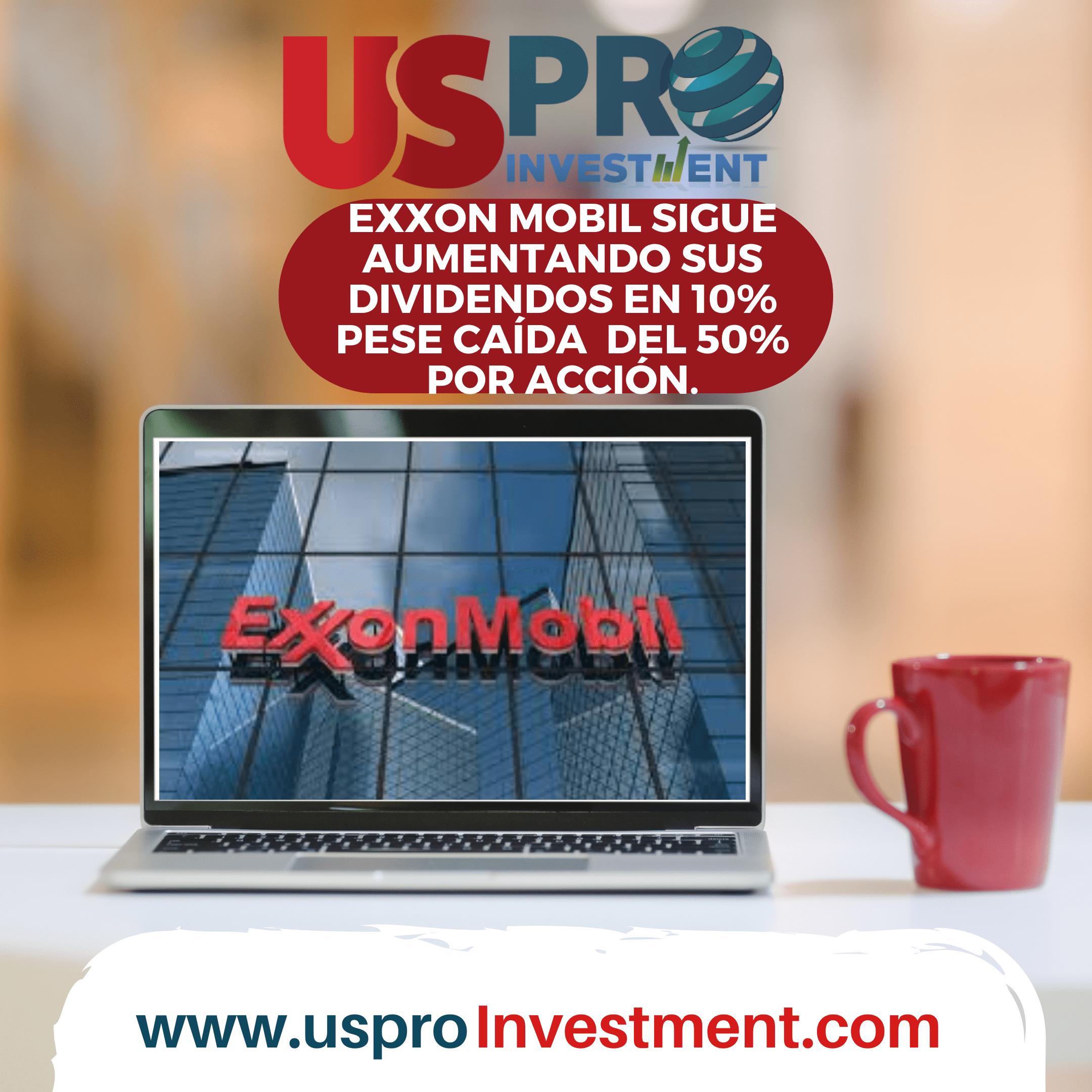 Exxon aumenta dividendos pese a la caída del 50% de su acción