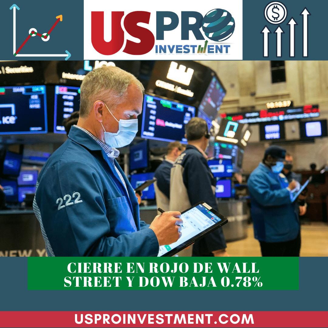 Cierre en rojo de Wall Street y Dow baja 0.78%