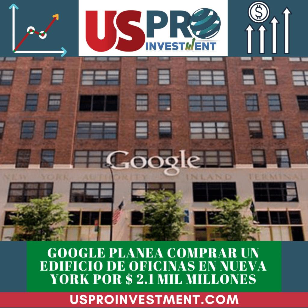 Google dio a conocer que planea comprar un edificio de oficinas en la ciudad de Nueva York por $ 2.1 mil millones
